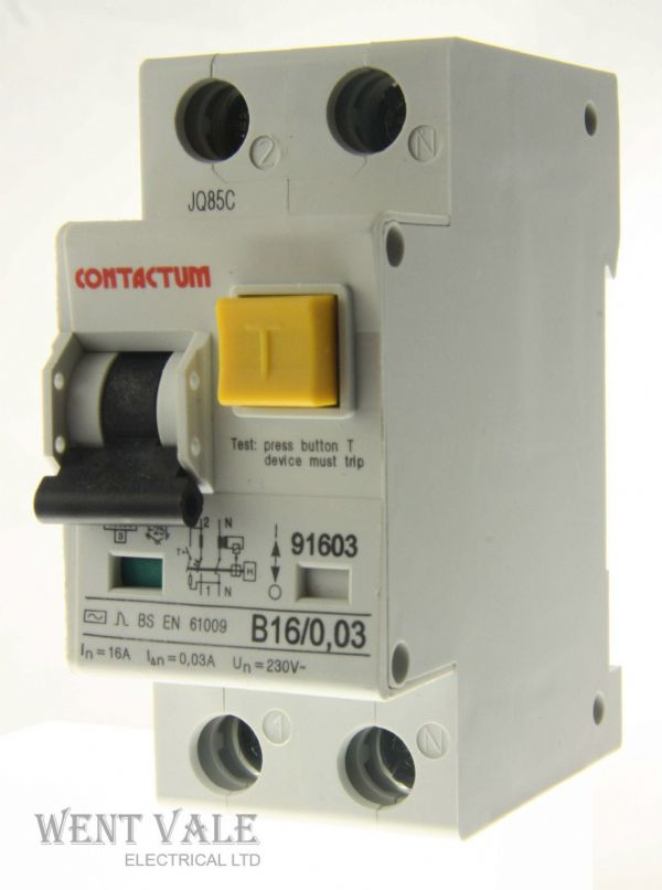 Contactum 91603 - B16/0.03 - 16a 30mA One Pole + Neutral RCBO Un-used